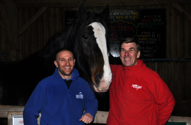 Luke Tillen with Pennywell's Chris Murray and Boxer the Shire Horse