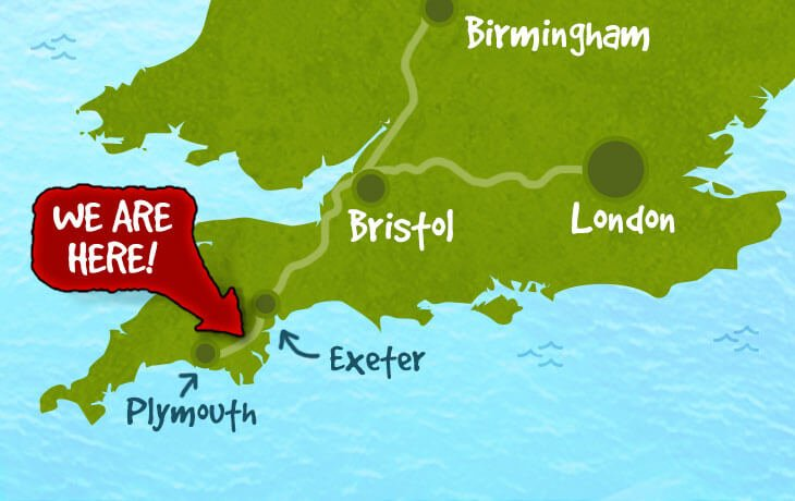We are located half way between Plymouth and Exeter in South Devon. Click for directions