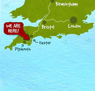 we are located half way between plymouth and exeter in south devon
