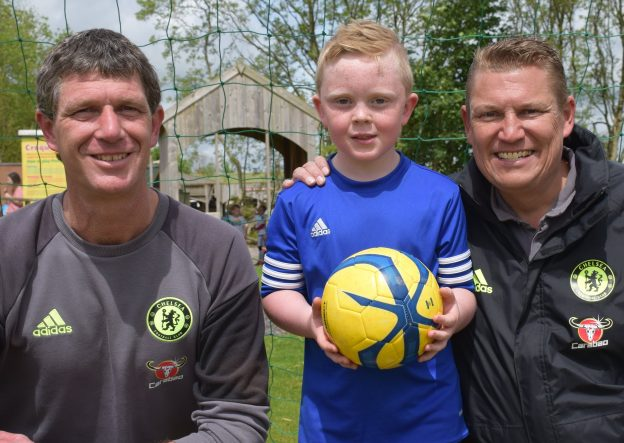 Left to right Chelsea FC Foundation coach Alan weeks with Alex Bromilow and Chelsea FC Foundation scout Steve Burrows