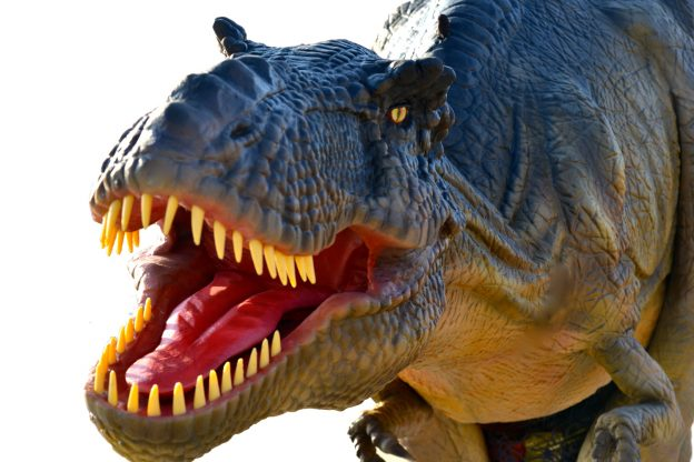 T Rex Animatronic Dinosaur white Left