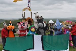 Mascots enjoying their day